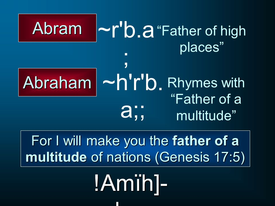 ~r b.a; ~h r b.a;; !Amïh]-ba; Abram Abraham Father of high places
